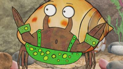 Buster the crab from Old Jack's Boat: Rockpool Tales looking surprised