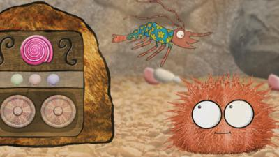 Sheena the shrimp from Old Jack's Boat: Rockpool Tales next to her musical rock and a visitor.