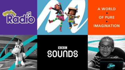 CBeebies Radio on BBC Sounds, with images of Ubercorn, Bitz & Bob and Esther from Biggleton's Big News.