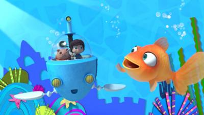 Monty and Jimmy Jones from Kazoops Radio in an underwater craft with Jarvis the goldfish.