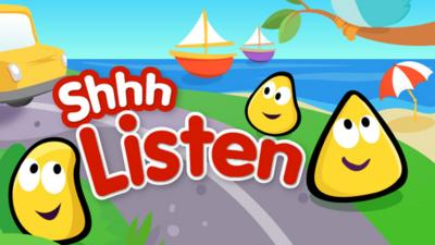 The Shhh, Listen logo with CBeebies Bugs listening to sounds.
