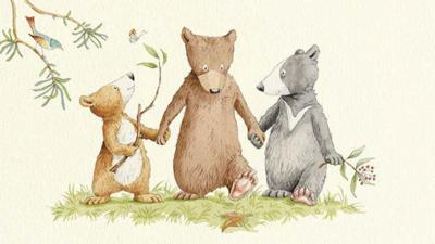 Three bears from You're All My Favourite walking hand in hand.