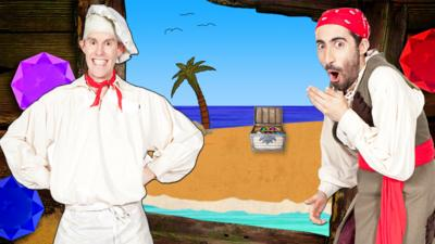 Cook and Line from Swashbuckle  in front of a desert island and an open treasure chest.