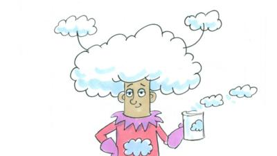 Mrs Mayor from Tales From No Such Town wearing a large cloud hat and carrying a cloud mug.