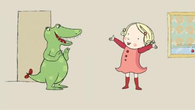 Doodle the crocodile and Tilly from Tilly and Friends smiling.