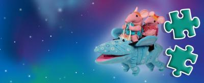 Jigsaw Puzzle Pieces, Clangers flying on a Sky Moo from CBeebies