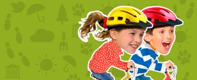 Topsy and Tim riding their bikes.