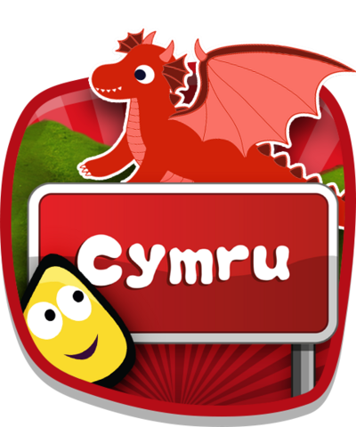 A CBeebies bug in front of a Cymru sign.