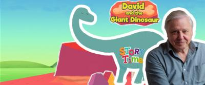 David Attenborough with a giant dinosaur