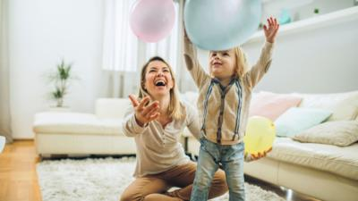Exercise at home with children.