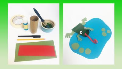 Make a cardboard frog with CBeebies House
