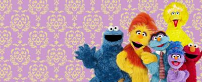 Cookie Monster, Funella, Furgus, Big Bird, Phoebe, Elmo.