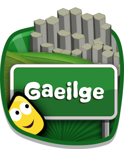 A CBeebies bug in front of a Gaeilge sign.