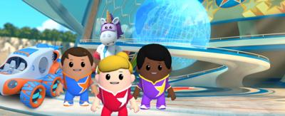 The Go Jetters cadets and Ubercorn in the Cadet Rescue game.