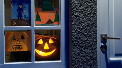 Halloween pictures and pumpkin in window