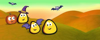 CBeebies bugs with pumpkins and bats.