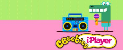 Happy the crocodile with a sound system from Hey Duggee