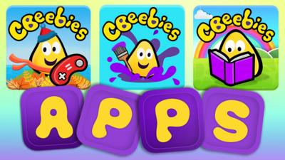 CBeebies Playtime Island, Get Creative and Storytime app icons.