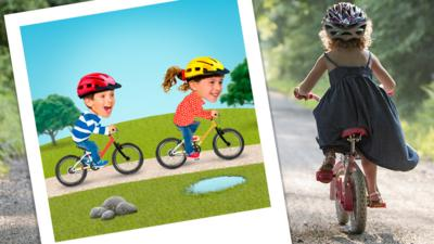 A young girl riding her bike on a gravel path. Next to her, there is a polaroid image of Topsy and Tim on their bikes.