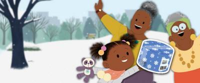 JoJo, Gran Gran and Great Gran Gran are in a snowy scene next to a large parcel.