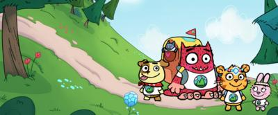 Love Monster, Bad Idea Puppy, Book cub, and bunny are on a path in the woods.