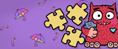 Illustration of love monster next to jigsaw puzzle pieces.