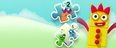 Numberblock Three jumping in the air with jigsaw pieces.