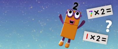 Numberblock two in the sky with multiplications and questions marks surrounding them.