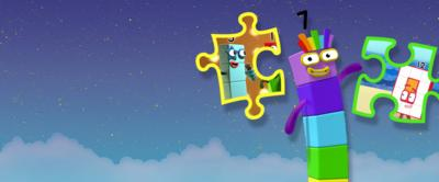 Numberblocks 7 is shown next to two jigsaw pieces.