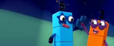 Numberblock Five and Two high-fiving.
