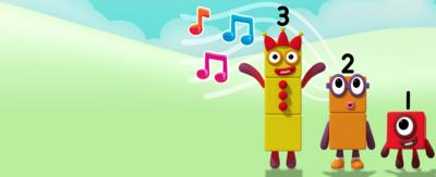 Numberblocks 1, 2 and 3 with music notes.