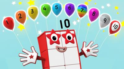 Numberblock ten and ballons