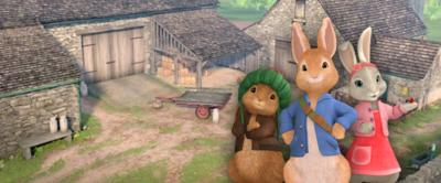 Peter Rabbit and friends in the farmyard