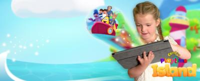A girl with a tablet in the playtime island world.