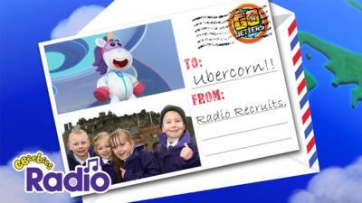 Postcard with Ubercorn and Radio Recruits