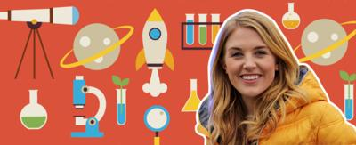 Maddie stood in front of a background full of science icons.