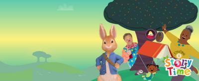Peter Rabbit, Mr Tumble, JoJo & Gran Gran and the Storytime logo on the Storytime background.
