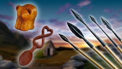 Museum artefacts, including a mummy and a welsh love spoon.