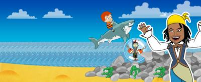 My Swashbuckle Adventure game, animated Gem on a beach with an animated young boy wearing a life jacket is riding a shark which is jumping out of the sea.