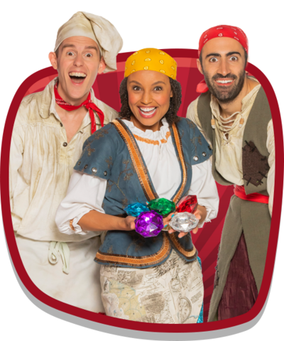 Cook, Gem and Line from CBeebies Swashbuckle holding pirate treasure.