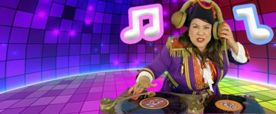Captain Captain Djing with a disco background and musical notes
