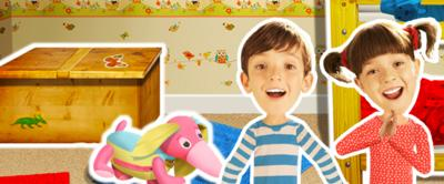 Topsy and Tim in their bedroom.