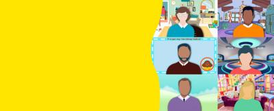 illustrations of people with backgrounds from various cbeebies brands.