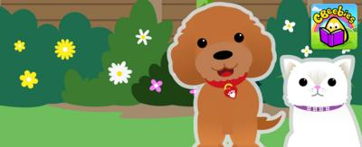 Waffle the dog and George the cat in the garden with the CBeebies Storytime logo.