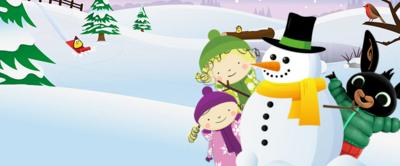 Nelly, Nora and Bing on a CBeebies winter snow background.