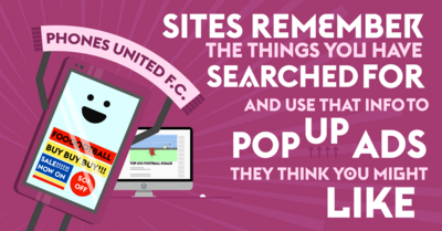 Infographic images which explain what data is and how information about you can be gathered on the internet.
