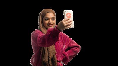 Saima Chowdhury holding a phone
