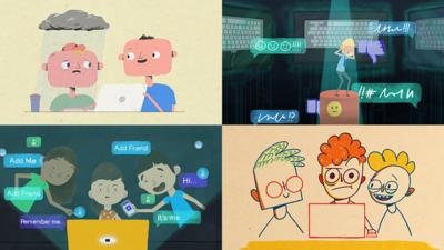Mash-up of four different illustrations about life online.