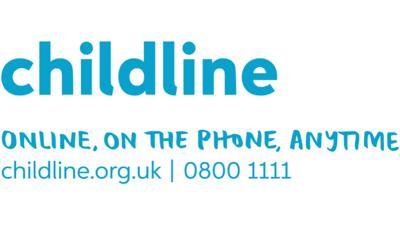 Childline logo, website and number. 0800 1111 and childline.org.uk