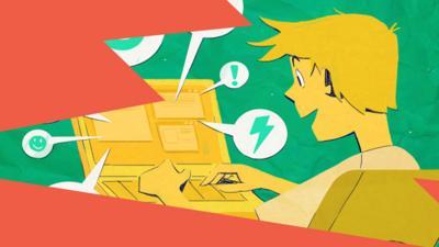 Illustration of boy on laptop.